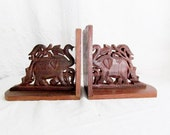 Elephant Bookends Carved Wooden Ornate Pair Book Ends