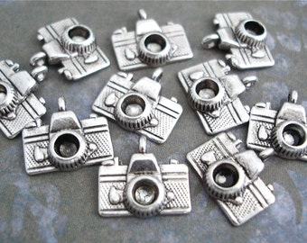 10 Camera Charms Antiqued Silver Tiny