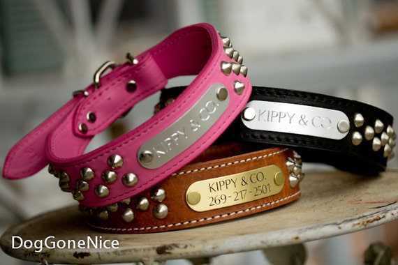 1.5 Inch Cone Stud Dog Collar // Leather Dog Collar // Studded Dog Collar // Engraved Dog Collar // Personalized Dog Collar // Dog Collar