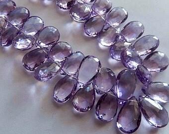 Amethyst Gemtone. Semi Precious Gemstone, Faceted Amethyst Pear Briolettes, 9-12mm,  2 Briolettes from Menu (0am)