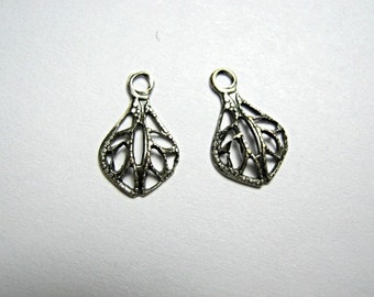 Drops -Tiny Filigree Drop Pendants Oxidized Silver 12mm . One Pair. (CC43X) SALE