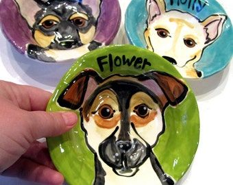 CUSTOM  extra small Handmade Ceramic Personalized Dog Bowl by Artzfolk