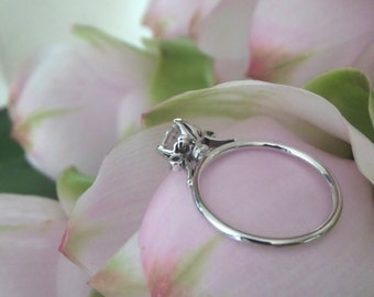 Lush Lotus Diamond Engagement Ring, 14k White Gold, Ready to Ship