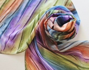 Hand Painted Silk Scarf - Handpainted Scarves Navy Blue Eggplant Purple Olive Dark Lime Green Rust Orange Rainbow