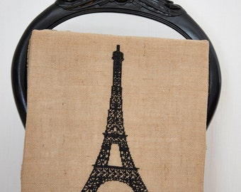 Wall art EIFFEL TOWER - french,paris,handmade,diy,cross stitch,needlepoint,embroidery,linen,burlap,black,hessian,pillow cover,anetteeriksson