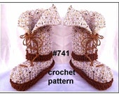 CROCHET SLIPPERS PATTERN - Boot style slippers, Adult sizes: Small, Medium and Large (shoe sizes 5 to 12), #741, Optional Double Soles