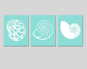 Beach Wall Art - Sea Shell Trio - Set of Three 8x10 Coordinating Shell Silhouette Prints - Bathroom, Kitchen - CHOOSE YOUR COLORS
