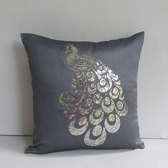DARK grey Sequin peacock Pillow cover- 18 inch- Custom made-