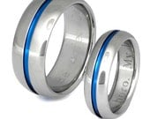 Thin Blue Line Titanium Wedding Band Set - Matching His and Hers - Blue Rings - stb22