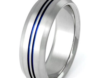 Thin Blue Line Titanium Band - Wedding Band - Custom Ring - b26