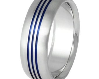 Thin Blue Line Titanium Wedding Band - Blue Ring - Three Stripes Ring - b12