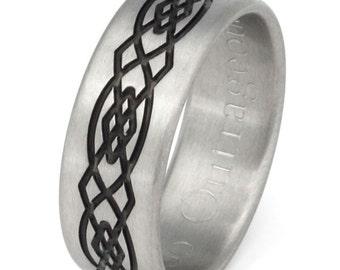 Black Titanium Irish Celtic Wedding Band - Celtic Ring - Irish Design - ck46Black
