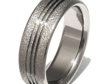 Titanium Wedding Band - Unique Titanium Ring - Frost Titanium - Unisex Band -  f11