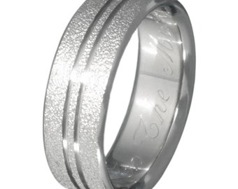 Titanium Frost Ring  - Textured Wedding Band - f9