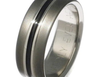 Black Titanium Wedding Band - Custom Ring - bk19