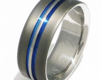 Sable Titanium Wedding Ring - Unique Sable Finish with Thin Blue Lines - sa20