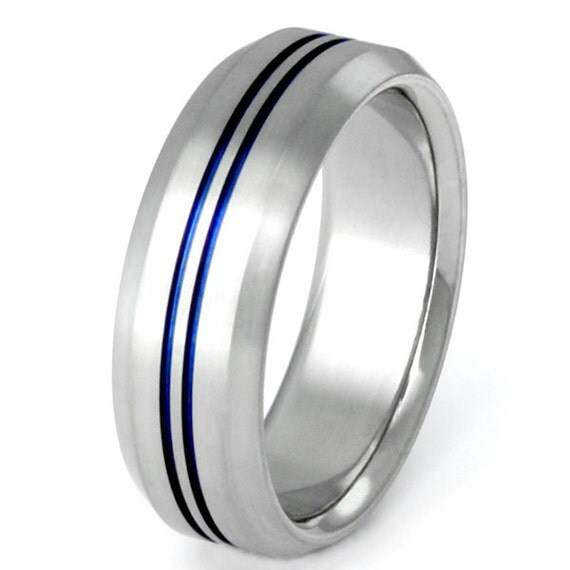 Thin Blue Line Titanium Band Wedding Band Custom Ring