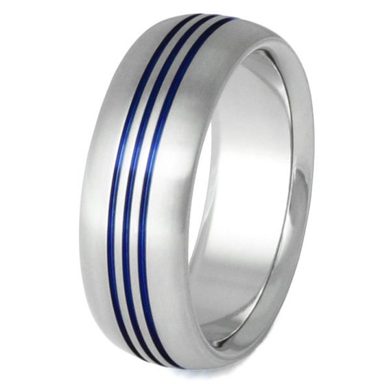 Thin Blue Line Titanium Wedding Band Blue Ring Three