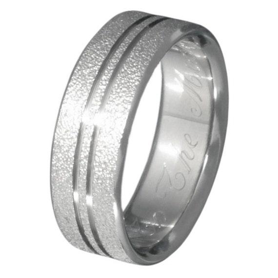 Titanium Frost Ring  - Textured Wedding Band - f9