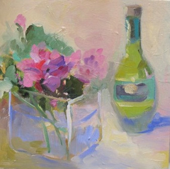 beaufitul bubble gum pink 'Geranium' painting by Linda Hunt 10X10 contemporary