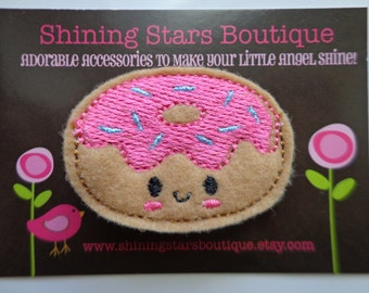 Girls Hair Accessories - Felt Hair Clips - Light Brown And Pixie Pink Embroidered Felt Donut With Turquoise Sprinkles Boutique Hair Clippie