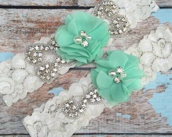 Mint Wedding garter / Lace garter Set / bridal  garter / vintage lace garter / chiffon flower / toss garter / wedding garter