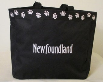 Newfoundland Tote Bag, Carrier, Personalized, Embroidered