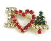 Vintage Red, Green & Clear Rhinestones I Heart Christmas with Heart and Tree Brooch or Pin