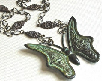 Large Butterfly Necklace - Verdigris Patina, Nature Jewelry, Butterfly Jewelry, Long Necklace