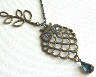 Brass Owl Necklace -  Blue Jewel, Owl Jewelry, Woodland, Nature Jewelry, Bird Jewelry
