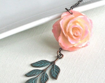 Real Rose Necklace -  Cream Pink, Flower Jewelry, Natural Preserved, Nature Jewelry