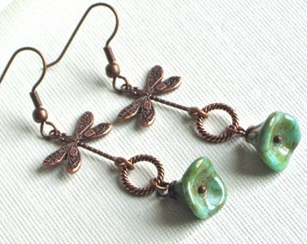 Copper Dragonfly Earrings - Czech Glass Flowers, Dragonfly Jewelry, Nature Jewelry