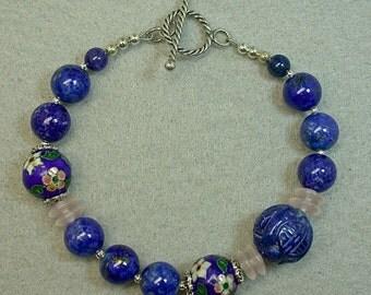 Vintage Lapis Lazuli Bead Gem Bracelet, Vintage Blue Chinese 1970s Champleve Cloisonné Bead ,Rose Quartz,Bali Silver Toggle Clasp