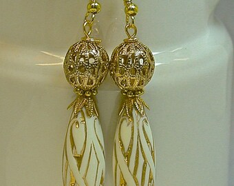 Vintage White Bead Dangle Drop Earrings Gold Oval Rococo Style , Gold Plated Filigree Bead, Gold Ear Wires -GIFT WRAPPED