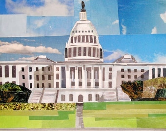 Daytime at the Capitol, 5x7 inch ORIGINAL COLLAGE ART