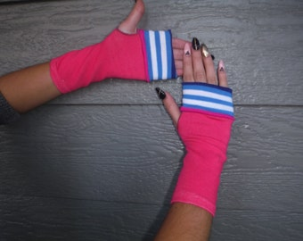 Pink glove with blue and white stripes fingerless gloves, youth, tween, teen young adult fingerless gloves, urban fashion #GLV80