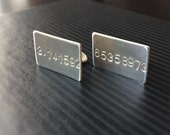 Pi cuff links - Sterling Silver - Custom Text - Ready to Ship