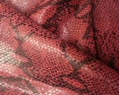 Gorgeous and unique snake print red and black lambskin leather - a huge almost 14 square foot hide