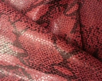 Gorgeous and unique snake print red and black lambskin leather - a 4sft cutting
