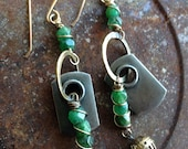 Assemblage Hardware Mixed Metal Earrings Green Gemstone Unique Women Gift Mixed Media