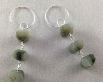 Green Jasper Sterling Silver Drop Earrings, Green Sterling Silver Earrings, Green Jasper Earrings, Green Drop Earrings, Sterling Silver Ear
