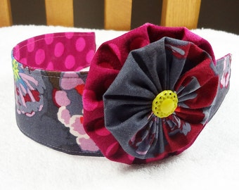 Reversible headband with removable hair clip, flower headband, baby toddler girl cotton child photo prop m2m Matilda Jane purple dot yoyo