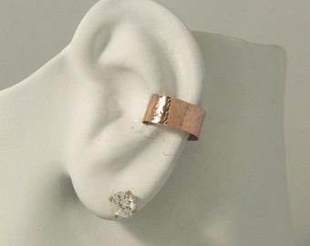 PINK ROSE Gold Ear cuff,Non-pierced,Cartilage Wrap, Earring Fake Conch, No Piercing,Cuff Earring, Faux Pierced Hoop Hammered E1RGFHMflat