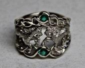 Wispering Unicorn Ring in 14K White Palladium Gold and Natural Emeralds