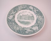 Vintage Wedgwood Plate Green Transferware Souvenir Plate Ohio University Sesquicentennial Edition featuring the Student Center Building