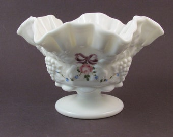 Vintage Westmoreland Milk Glass Compote Hand Painted Bows Flowers Artist Signed and Dated with Original Sticker Ruffled Edge Milk Glass Bowl