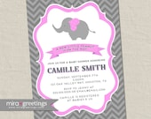Pink Elephant Baby Shower Invitation - Chevron Peanut Shower Invite - Pink baby girl shower (Printable Digital File)