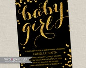 Gold metallic baby shower invitation - baby girl Invites - gold glitter invitations -  (DIY Printable Digital File)