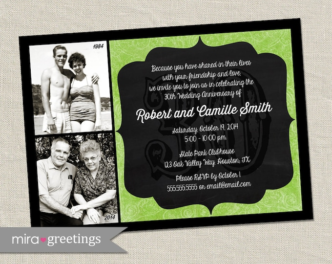 30th Anniversary Photo Invitation - Printable Digital File