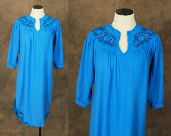 CLEARANCE vintage 80s Dress - Blue Bali Cutwork Dress 1980s Embroidered Cut Out Tent Dress Sz M L